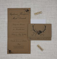 This kraft wedding invite is a folded concertina, featuring a set of deer antlers and a fun bunch of florals.  The kraft cards gives a rustic, natural and woodsy feel, while the text choices retain a sense of formality and tradition.    http://bemyguest.co.nz/archives/item/deer-antlers-flowers-concertina-wedding-invitation/