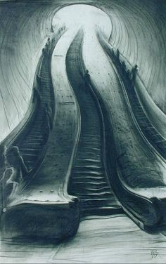#charcoal #drawing Great altered perspective in this rendering of escalators.