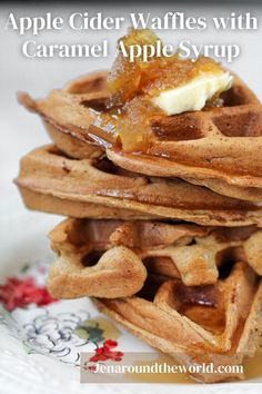 This recipe for Apple Cider Waffles is part of #NationalWaffleDay. They are SO good and I cannot wait to share the recipe with you. I don't know about you, but waffles are my jam. I love them more than pancakes or french toast. You can turn waffles into savory waffles like my Cheesy Hashbrown Waffles. Or, you can turn them into amazing breakfast waffles like these Apple Cider Waffles. Cinnamon Roll Waffles, Savory Waffles, Breakfast Waffles, Breakfast Cookies, Hashbrown Waffles, Pancakes, Bakers Chocolate, Chocolate Waffles, Cooking Chocolate
