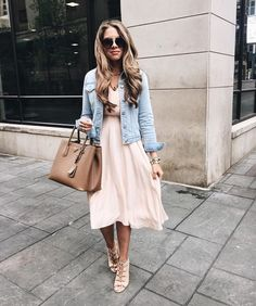Blush dress with denim jacket with lace up heels