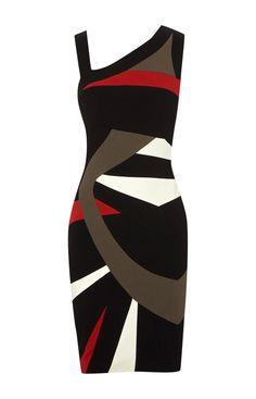 Karen Millen Colour Block Dress Black and Multicolour