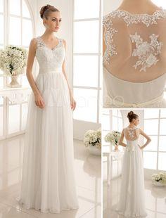 Vestido de novia con cuello en V y lentejuela hasta el suelo - Milanoo.com