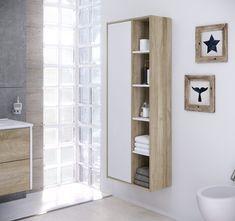 #Colonne de #salle de #bain CUBA à suspendre #blanc et #chêne - BUT #rangement #decoration
