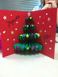 carte noel pop up Christmas Card Crafts, Christmas Activities, Kids Christmas, Handmade Christmas, Christmas Decorations, Diy And Crafts, Paper Crafts, Voici, Scrap