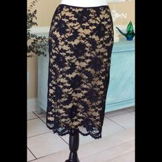 3 piece lace suit for $20 Beautiful black lace skirt with nude lining.  Looks great with nude pumps and black dressy top.  Rhinestone jewelry and you're done! Karen Kane Other