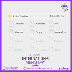 Being a MALE is a matter of BIRTH, Being a MAN is a matter of CHOICE. On International Men's Day, DMR congratulates every Man by choice and urges them to un-mask their hidden emotions. #showhiddenfiles Top Digital Marketing Companies, Social Media Marketing, Happy International Men's Day, Birth, Being A Mom