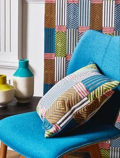 Prestigious Textiles, Modern Muse, Blue Colour Palette, Geometric Shapes, Yorkshire, Cushions, Colours, Throw Pillows, Bed