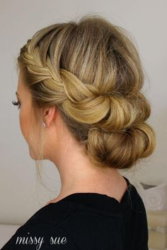 Missy Sue's easy updo proves you can do a gorgeous tuck and cover without showing the headband you use. Perfect for any formal event and flattering for any style of gown, this braided, rolled, and tucked hairstyle is a real winner.