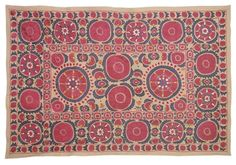 Vintage hand embroidered Uzbek Bukhara Suzani