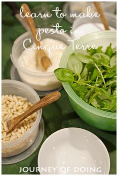 journey of doing - making pesto in cinque terre; cooking classes in Cinque Terre; learn how to make pesto in Italy