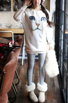 Loose Fit Cat Print Sweatshirt @OASAP i lovecat..
