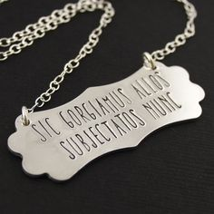 Addams Family House Motto Necklace - Spiffing Jewelry - We Gladly Feast on Those Who Would Subdue Us - Halloween Jewelry