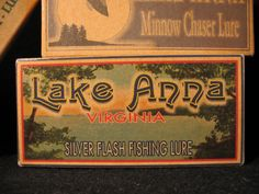 Lake Anna Virginia Lake House Cabin Fishing Lure Boxes Decorations - Personalized Rustic Fishing Lure Boxes Lake House Cabin Decorations