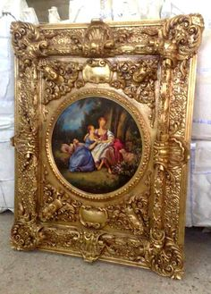 Large custom made painting with exquisitely carved and gilded frame. 180 cm height. www.azharyantiques.com -------- Azhary Antique Furniture defines the true meaning of royal antique furniture. Located in the city of Alexandria, they proudly declare to deliver you 18th and 19th century designs of antique pieces of furniture and more. The craftsmen from Azhary Antiques give each and every furniture piece the high quality finishing touches, remain stunned with the creative glory.