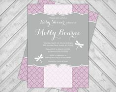Dragonfly baby shower invitation its a girl by designxfive 1355 purple baby shower invitations dragonfly baby shower invite couples surprise gray lavender diy printable file or printed 768 filmwisefo