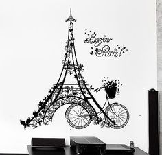 Wall Decal Paris Eiffel Tower France Bicycle Love Vinyl Decal (z3112)