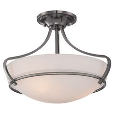 Illuminate your den or foyer with this lovely semi-flush mount, showcasing a polished antique nickel finish and an etched glass shade.