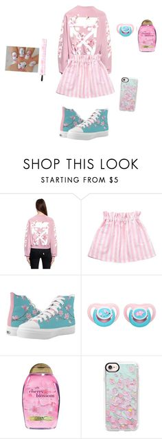 """""""cherry blossoms"""" by independentprincess ❤ liked on Polyvore featuring Off-White, Playtex, Organix and Casetify"""