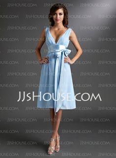 Bridesmaid Dresses - $89.49 - Empire V-neck Tea-Length Chiffon  Charmeuse Bridesmaid Dresses With Ruffle  Sash (007000842) http://jjshouse.com/Empire-V-Neck-Tea-Length-Chiffon-Charmeuse-Bridesmaid-Dresses-With-Ruffle-Sash-007000842-g842