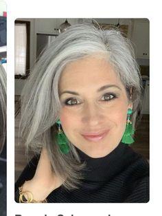 Grey Hair - beautiful gray hair - Beauty Tips and Tricks Grey Hair Don't Care, Long Gray Hair, Grey Wig, Silver Grey Hair, Curly Gray Hair, Grey Hair Over 50, Grey Hair Korean, Curly Hair Styles, Natural Hair Styles