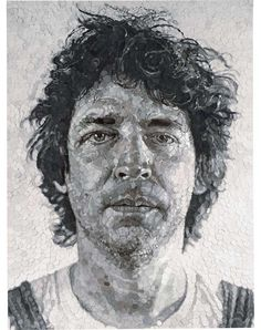 Chuck Close - Jud/Collage, 1982, paper pulp collage on canvas, 96 x 72 in.