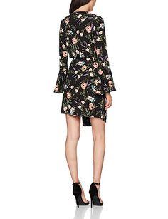 wholesale dealer b2a3c 2040f New Look Women s May Flute Wrap Dress, Black (Black Pattern), ...