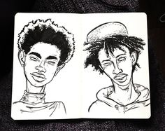 Celebrity portraits - Willow and Jaden Smith illustration in moleskine sketchbook by SemiSkimmedMin.