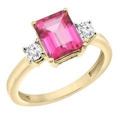 10K Yellow Gold Natural Pink Topaz Ri…