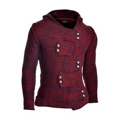 Men s Jumper Hooded Wool Cable Knit Long Sleeve Sweater Metallic Buttons  Cardigan 62b0792171b