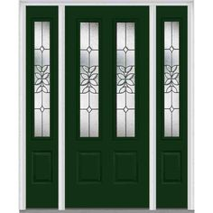 Milliken Millwork 64.5 in. x 81.75 in. Cadence Decorative Glass 2 Lite Painted Fiberglass Smooth Exterior Door with Sidelites, Rock Garden