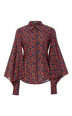 Blossom Printed Tulle Blouse by ZAC POSEN for Preorder on Moda Operandi