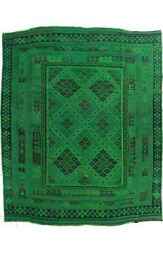 Overdyed Amira Flatwoven Green Rug   Southwestern Rugs