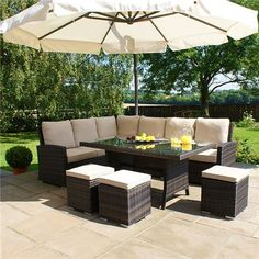 Maze Rattan Outdoor Garden Furniture Kingston x Rectangular Table Brown Rattan Corner Sofa Dining Set by Maze Rattan Price: FREE UK delivery. Pallet Garden Furniture, Outdoor Furniture Sets, Outdoor Decor, Black Rattan Garden Furniture, Corner Sofa Garden Furniture, Outdoor Bars, Lawn Furniture, Furniture Dolly, Cheap Furniture