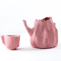 Israeli designer Rachel Boxnboim has cast a ceramic tea service inside fabric moulds.