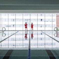 Recessed windows frame pools and courts in Salburúa Civic Center by ACXT