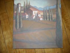 """hand painted canvas picture tuscan italy style look wall art trees houses paintfor sale in my store The Chic N Prim cottage ebay have to put in the """"the """" in search engine $10 FREE Shipping when you spend $30 or more! crafted watermelon napkin holder summer table"""