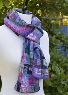 Mitred Square Scarf using left over sock yarn.