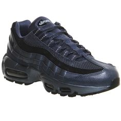 Nike Air Max 95 ($180) ❤ liked on Polyvore featuring shoes, burnt metal blue, trainers, unisex sports, nike shoes, laced up shoes, unisex shoes, lace up shoes and sports shoes