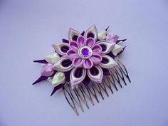 Bridal Hair Comb with Kanzashi Flower Wedding Bohemian