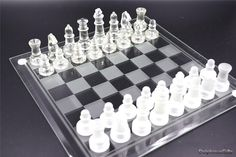 RM 22.41. Glass chess set 25cm x 25cm , clear and frosted glass chess