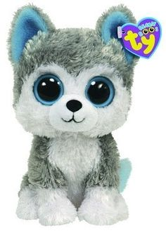 "Ty Beanie Boo's Siberian Husky Puppy Dog Blue Eyes ""Slush"" Stuffed Animal Toy 