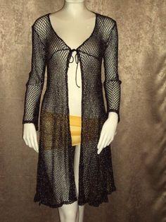 Misdemeanor Black Silver Lame Metallic Knit Duster Cardigan Crochet Sweater SZ S #Misdemeanor #DusterSweaterJacket