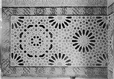 Image SPA 0926x featuring decorated area from the Alhambra, in Granada, Spain, showing Geometric Pattern using ceramic tiles, mosaic or pottery.