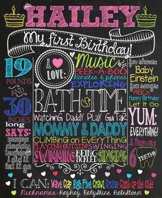 Multicolored 1st Birthday Chalkboard Sign, $35 via CustomChalkPosters.com