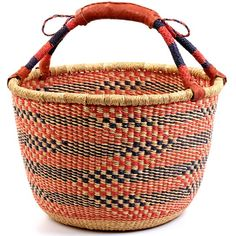 "Woven basket from Bolgatanga region of Ghana. 15"" across, leather wrapped handle. Fair trade. $34.50"