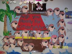 You Ready For Kindergarten? - Pirate Back-To-School Bulletin Board idea Checkout this great post on Bulletin Board Ideas!Checkout this great post on Bulletin Board Ideas! Pirate Bulletin Boards, Welcome Bulletin Boards, Back To School Bulletin Boards, Classroom Bulletin Boards, Preschool Classroom Themes, Classroom Fun, Preschool Ideas, Teaching Ideas, Craft Ideas