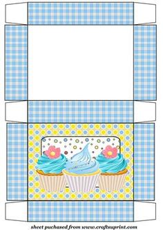 Blue cupcake themed gift box on Craftsuprint designed by Stephen Poore - Blue cupcake themed gift box - Now available for download!
