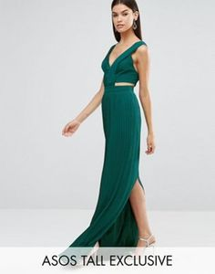 ASOS TALL Pleated Maxi Dress with Cut Out Side