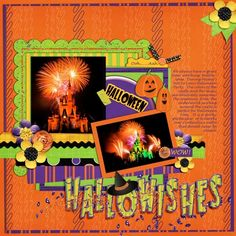 Disney Hallowishes page layout by Lisa using Boo to You Digital Kit by Capturing Magical Memories #DisneyScrapbooking #DisneyMemories