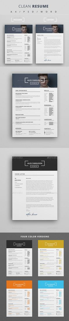 Resume - #Resumes #Stationery Download here: https://graphicriver.net/item/resume/18948770?ref=alena994